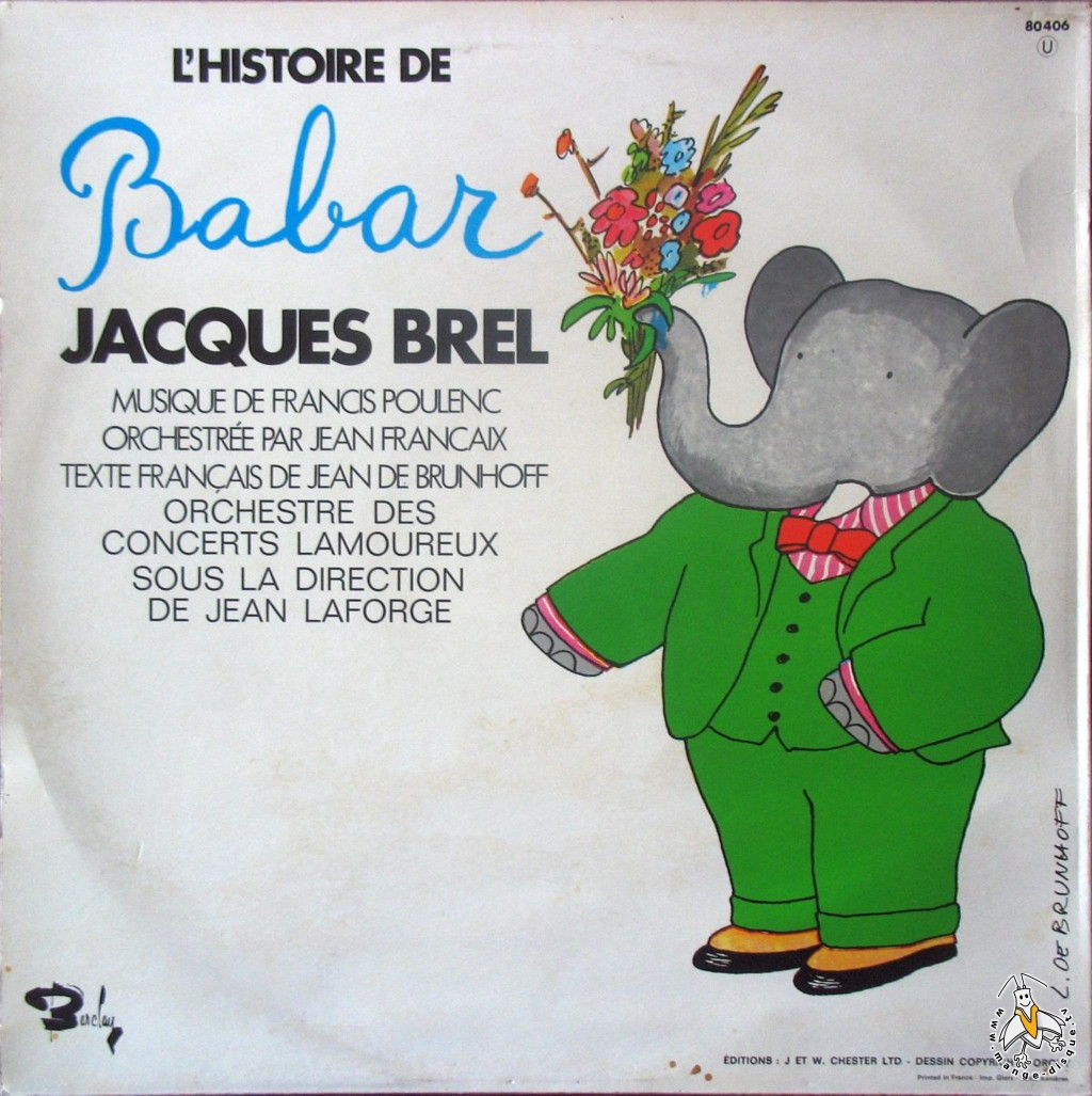 Fabuleux Disque Séries TV et Dessins Animés L'histoire de Babar Jacques Brel ZP61